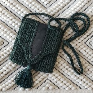 Woven Crochet Forest Green Tassle Crossbody Bag
